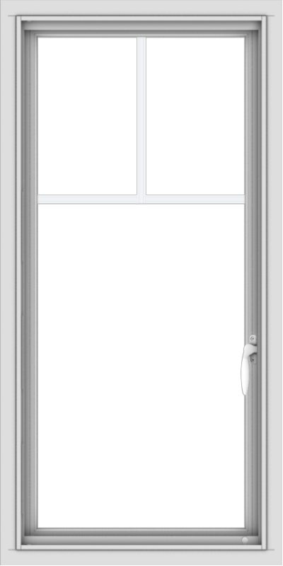 WDMA 20x40 (19.5 x 39.5 inch) Vinyl uPVC White Push out Casement Window with Fractional Grilles