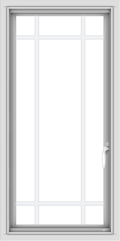 WDMA 20x40 (19.5 x 39.5 inch) Vinyl uPVC White Push out Casement Window with Prairie Grilles