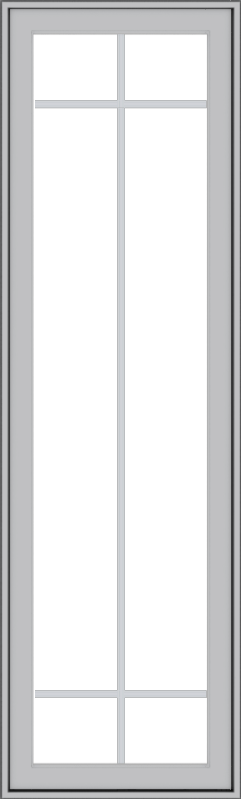 WDMA 20x66 (19.5 x 65.5 inch) Pine Wood Light Grey Aluminum Push out Casement Window with Prairie Grilles