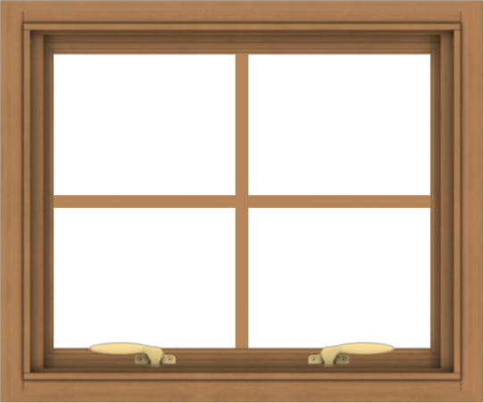 WDMA 24x20 (23.5 x 19.5 inch) Oak Wood Green Aluminum Push out Awning Window with Colonial Grids Interior