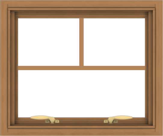WDMA 24x20 (23.5 x 19.5 inch) Oak Wood Green Aluminum Push out Awning Window with Fractional Grilles