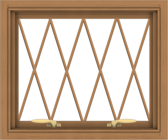 WDMA 24x20 (23.5 x 19.5 inch) Oak Wood Green Aluminum Push out Awning Window without Grids with Diamond Grills