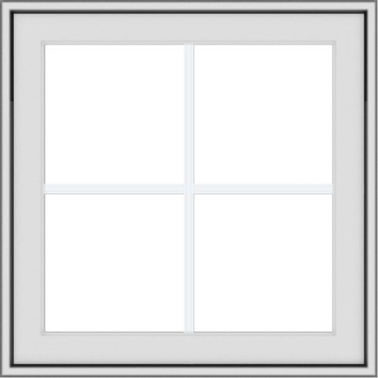 WDMA 24x24 (23.5 x 23.5 inch) White Vinyl uPVC Crank out Awning Window with Colonial Grids Exterior