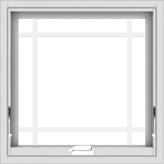 WDMA 24x24 (23.5 x 23.5 inch) White Vinyl uPVC Crank out Awning Window with Prairie Grilles