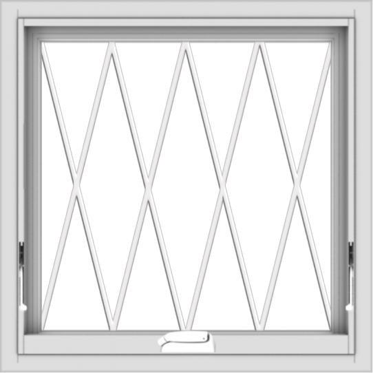 WDMA 24x24 (23.5 x 23.5 inch) White Vinyl uPVC Crank out Awning Window without Grids with Diamond Grills