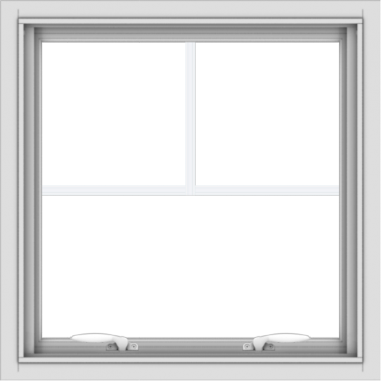 WDMA 24x24 (23.5 x 23.5 inch) White uPVC Vinyl Push out Awning Window with Fractional Grilles