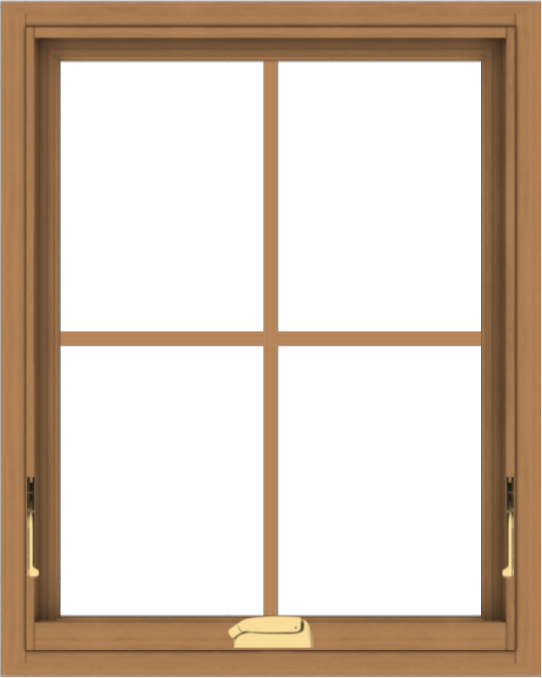 WDMA 24x30 (23.5 x 29.5 inch) Oak Wood Dark Brown Bronze Aluminum Crank out Awning Window with Colonial Grids Interior