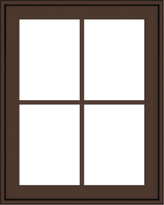 WDMA 24x30 (23.5 x 29.5 inch) Oak Wood Dark Brown Bronze Aluminum Crank out Awning Window with Colonial Grids Exterior