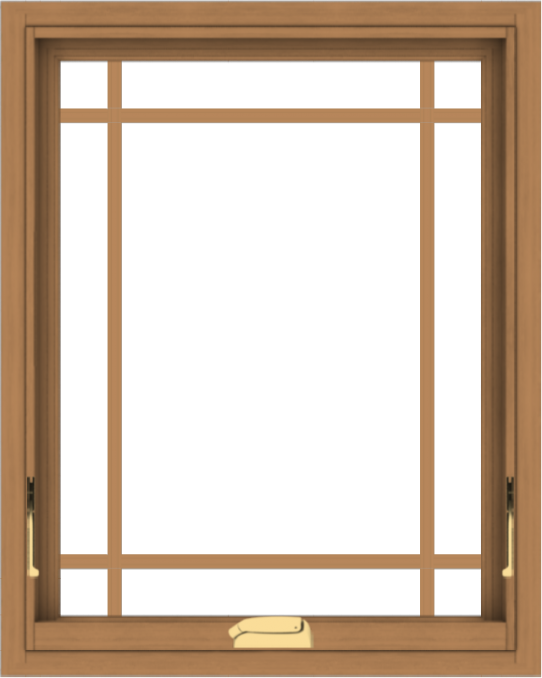 WDMA 24x30 (23.5 x 29.5 inch) Oak Wood Dark Brown Bronze Aluminum Crank out Awning Window with Prairie Grilles