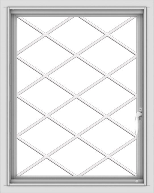 WDMA 24x30 (23.5 x 29.5 inch) Vinyl uPVC White Push out Casement Window  with Diamond Grills