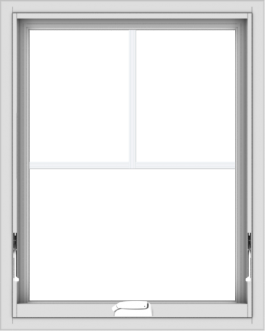 WDMA 24x30 (23.5 x 29.5 inch) White Vinyl uPVC Crank out Awning Window with Fractional Grilles