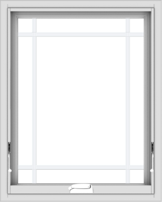 WDMA 24x30 (23.5 x 29.5 inch) White Vinyl uPVC Crank out Awning Window with Prairie Grilles