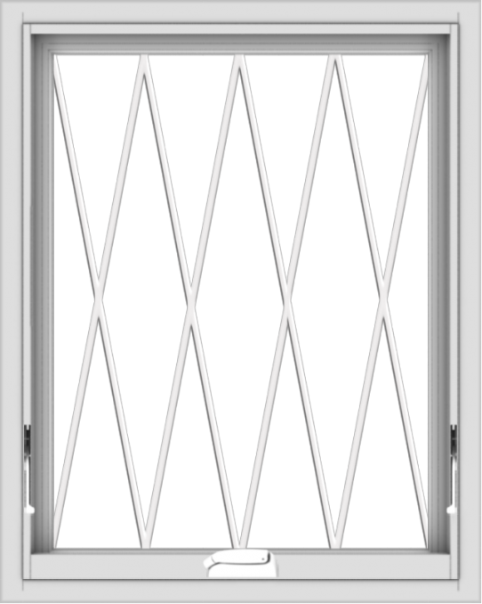 WDMA 24x30 (23.5 x 29.5 inch) White Vinyl uPVC Crank out Awning Window without Grids with Diamond Grills