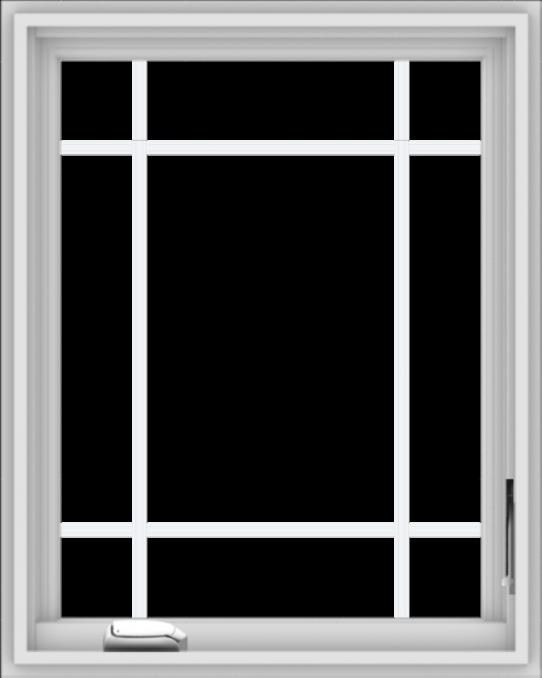 WDMA 24x30 (23.5 x 29.5 inch) White Vinyl uPVC Crank out Casement Window with Prairie Grilles