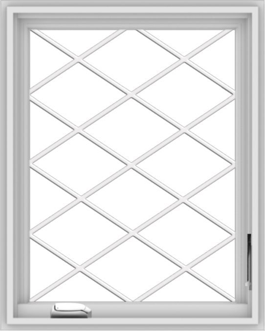 WDMA 24x30 (23.5 x 29.5 inch) White Vinyl uPVC Crank out Casement Window  with Diamond Grills