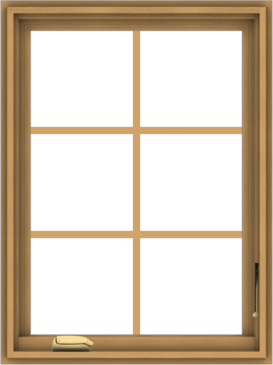 WDMA 24x32 (23.5 x 31.5 inch) Pine Wood Dark Grey Aluminum Crank out Casement Window with Colonial Grids
