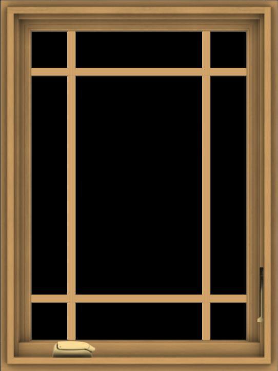 WDMA 24x32 (23.5 x 31.5 inch) Pine Wood Dark Grey Aluminum Crank out Casement Window with Prairie Grilles