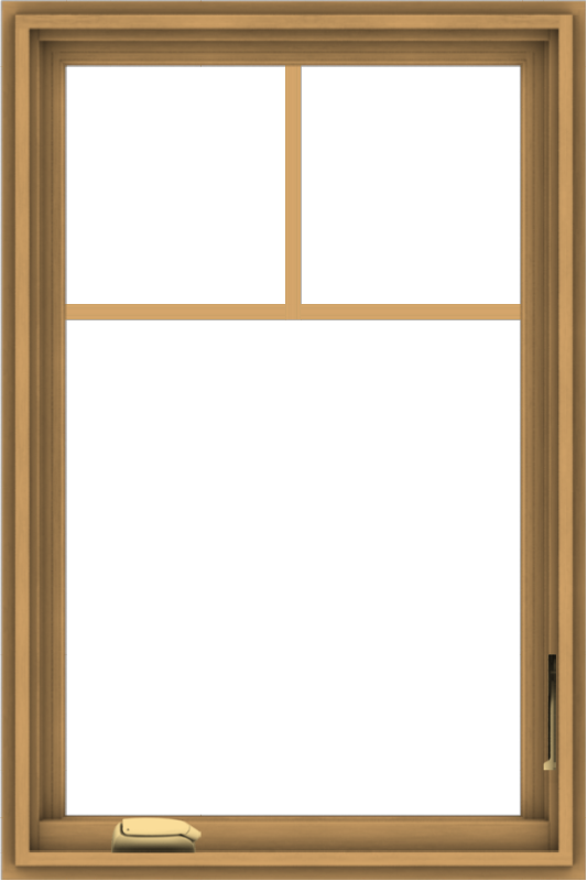 WDMA 24x36 (23.5 x 35.5 inch) Pine Wood Dark Grey Aluminum Crank out Casement Window with Fractional Grilles