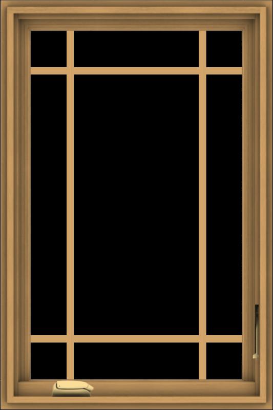 WDMA 24x36 (23.5 x 35.5 inch) Pine Wood Dark Grey Aluminum Crank out Casement Window with Prairie Grilles