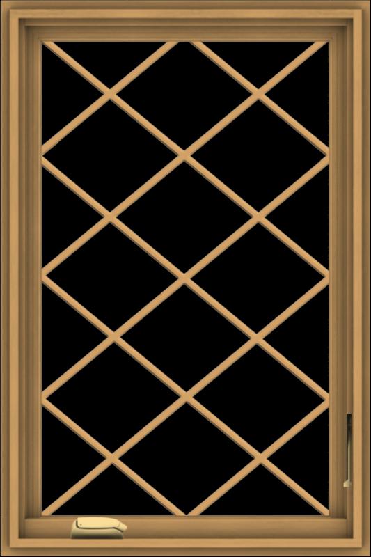 WDMA 24x36 (23.5 x 35.5 inch) Pine Wood Dark Grey Aluminum Crank out Casement Window  with Diamond Grills
