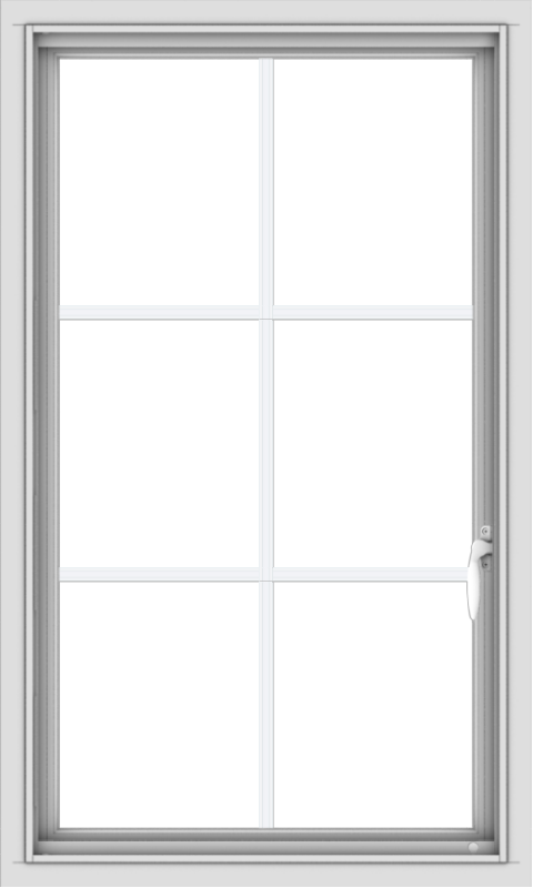 WDMA 24x40 (23.5 x 39.5 inch) Vinyl uPVC White Push out Casement Window with Colonial Grids