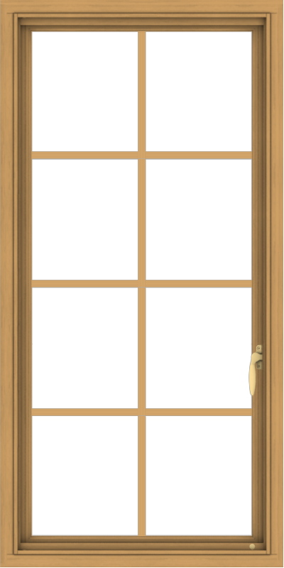 WDMA 24x48 (23.5 x 47.5 inch) Pine Wood Light Grey Aluminum push out Casement Window with Colonial Grids