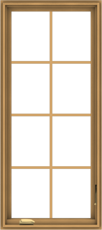 WDMA 24x54 (23.5 x 53.5 inch) Pine Wood Dark Grey Aluminum Crank out Casement Window with Colonial Grids