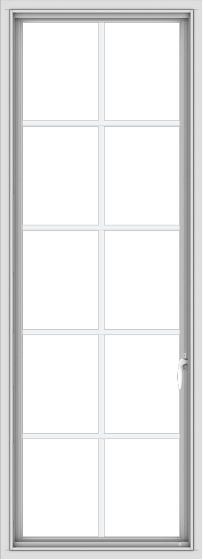 WDMA 24x66 (23.5 x 65.5 inch) White Vinyl uPVC Push out Casement Window with Colonial Grids