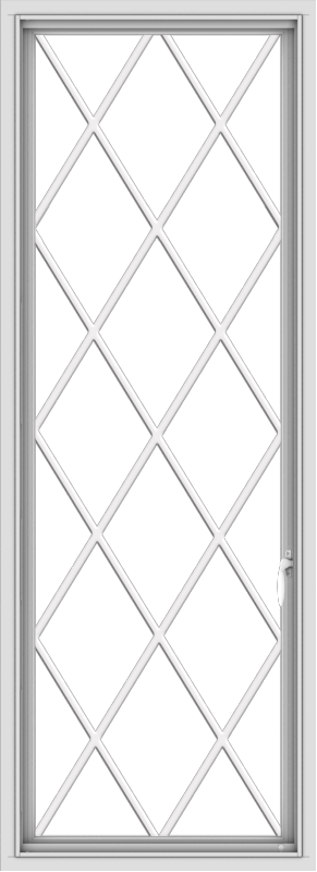 WDMA 24x66 (23.5 x 65.5 inch) White Vinyl uPVC Push out Casement Window without Grids with Diamond Grills