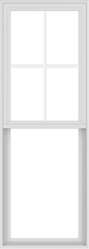 WDMA 24x66 (23.5 x 65.5 inch) Vinyl uPVC White Single Hung Double Hung Window with Top Colonial Grids Exterior