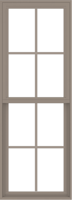 WDMA 24x66 (23.5 x 65.5 inch) Vinyl uPVC Brown Single Hung Double Hung Window with Colonial Grids Exterior