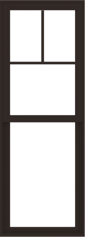 WDMA 24x66 (23.5 x 65.5 inch) Vinyl uPVC Dark Brown Single Hung Double Hung Window with Fractional Grids Interior