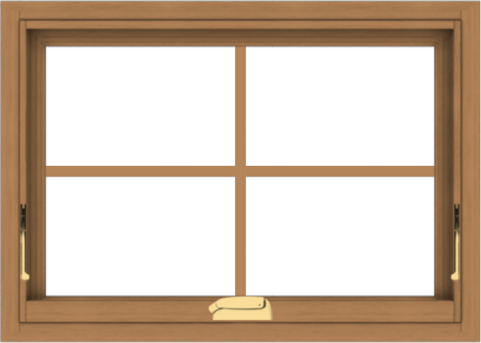 WDMA 28x20 (27.5 x 19.5 inch) Oak Wood Dark Brown Bronze Aluminum Crank out Awning Window with Colonial Grids Interior