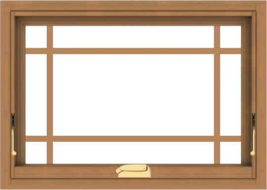 WDMA 28x20 (27.5 x 19.5 inch) Oak Wood Dark Brown Bronze Aluminum Crank out Awning Window with Prairie Grilles