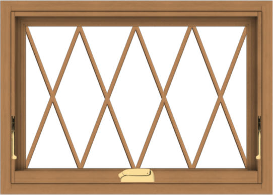 WDMA 28x20 (27.5 x 19.5 inch) Oak Wood Dark Brown Bronze Aluminum Crank out Awning Window without Grids with Diamond Grills