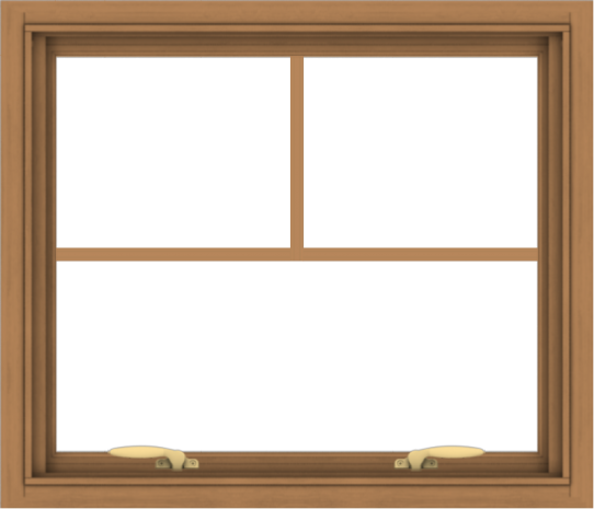 WDMA 28x24 (27.5 x 23.5 inch) Oak Wood Green Aluminum Push out Awning Window with Fractional Grilles