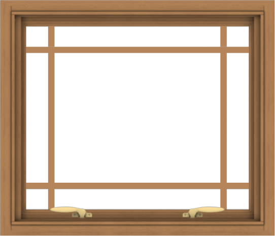 WDMA 28x24 (27.5 x 23.5 inch) Oak Wood Green Aluminum Push out Awning Window with Prairie Grilles