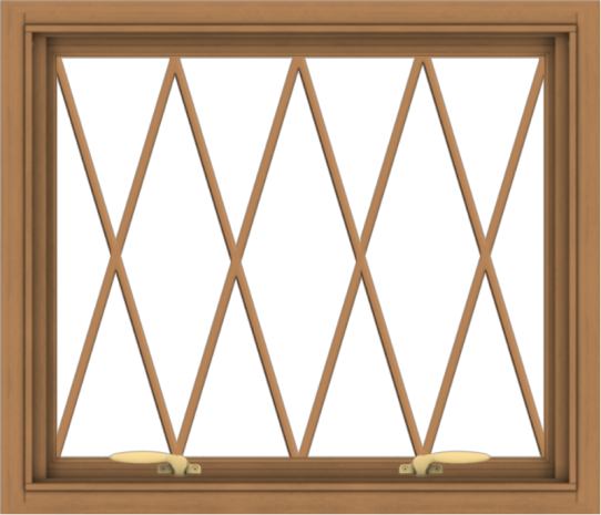 WDMA 28x24 (27.5 x 23.5 inch) Oak Wood Green Aluminum Push out Awning Window without Grids with Diamond Grills