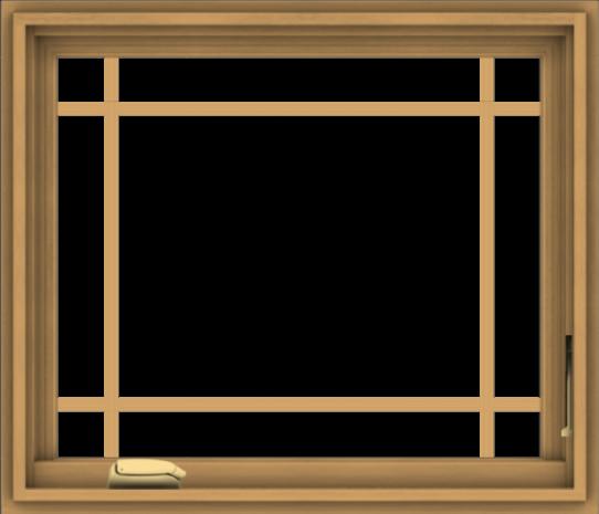 WDMA 28x24 (27.5 x 23.5 inch) Pine Wood Dark Grey Aluminum Crank out Casement Window with Prairie Grilles