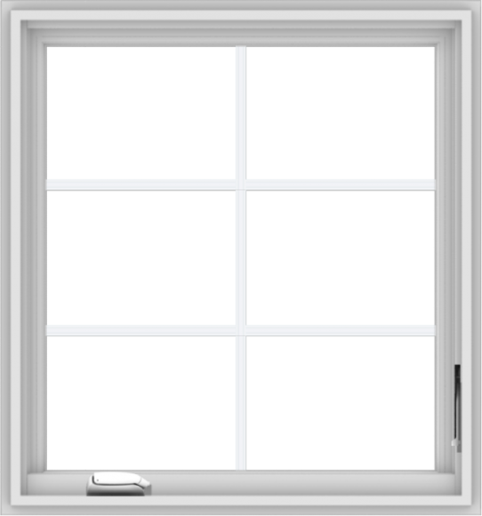 WDMA 28x30 (27.5 x 29.5 inch) White Vinyl uPVC Crank out Casement Window with Colonial Grids