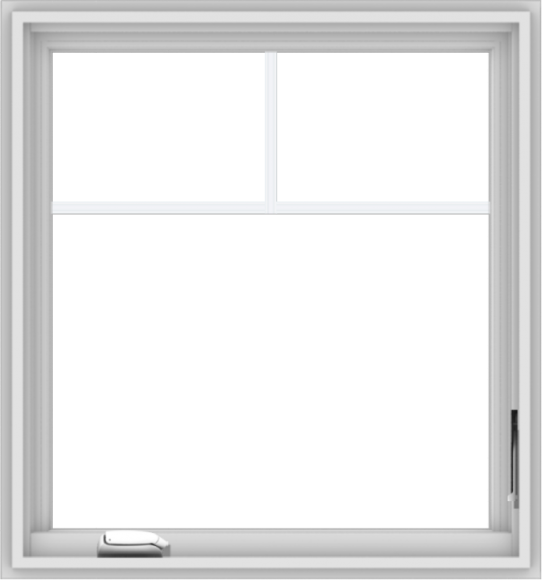 WDMA 28x30 (27.5 x 29.5 inch) White Vinyl uPVC Crank out Casement Window with Fractional Grilles