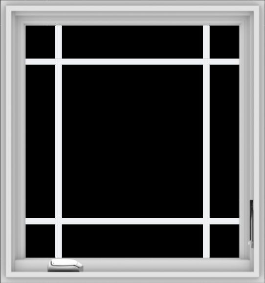WDMA 28x30 (27.5 x 29.5 inch) White Vinyl uPVC Crank out Casement Window with Prairie Grilles