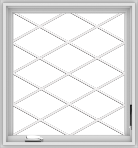 WDMA 28x30 (27.5 x 29.5 inch) White Vinyl uPVC Crank out Casement Window  with Diamond Grills