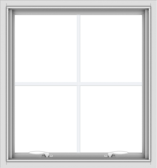 WDMA 28x30 (27.5 x 29.5 inch) White uPVC Vinyl Push out Awning Window with Colonial Grids Interior