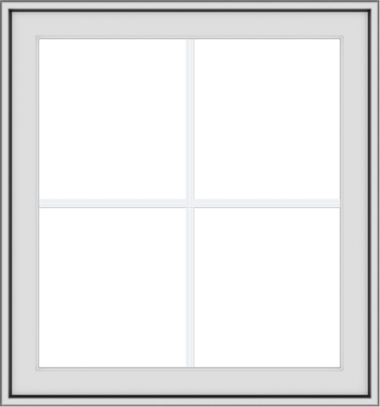 WDMA 28x30 (27.5 x 29.5 inch) White uPVC Vinyl Push out Awning Window with Colonial Grids Exterior