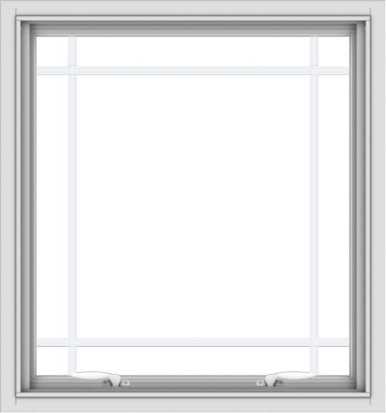 WDMA 28x30 (27.5 x 29.5 inch) White uPVC Vinyl Push out Awning Window with Prairie Grilles