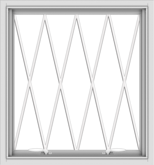 WDMA 28x30 (27.5 x 29.5 inch) White uPVC Vinyl Push out Awning Window without Grids with Diamond Grills