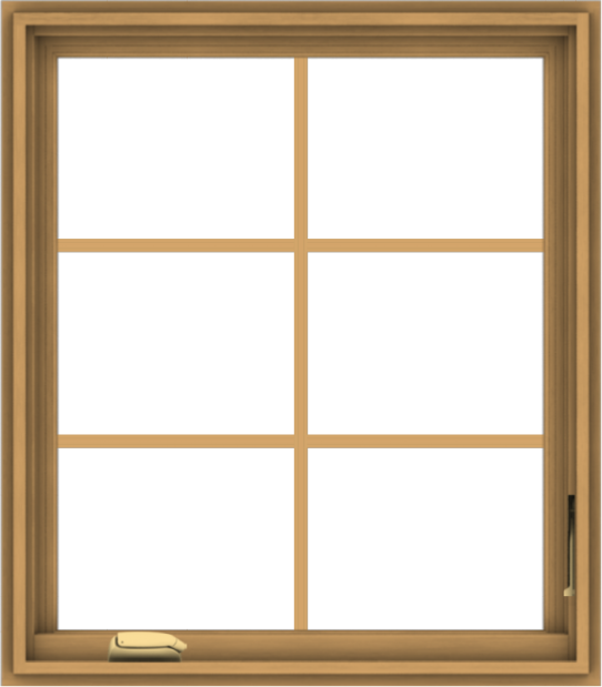 WDMA 28x32 (27.5 x 31.5 inch) Pine Wood Dark Grey Aluminum Crank out Casement Window with Colonial Grids