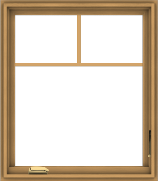 WDMA 28x32 (27.5 x 31.5 inch) Pine Wood Dark Grey Aluminum Crank out Casement Window with Fractional Grilles