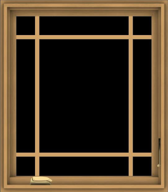 WDMA 28x32 (27.5 x 31.5 inch) Pine Wood Dark Grey Aluminum Crank out Casement Window with Prairie Grilles